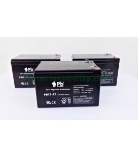 3 Baterias Patinente AGM 12v 12Ah PB